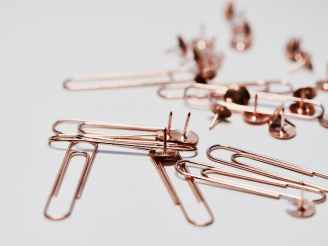 paper clips and thumb tacks